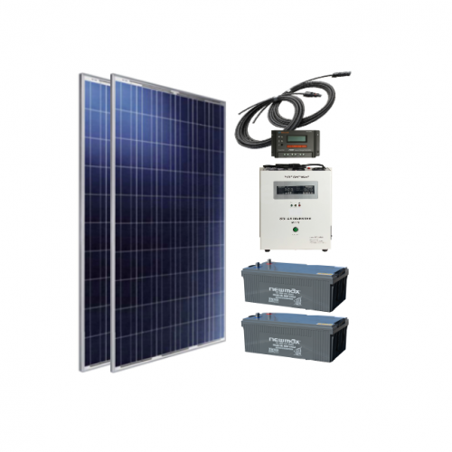 Sistem cu panouri fotovoltaice independent de 600W, 220V C.A. cu invertor hibrid 2000VA – sinus pur - Featured image