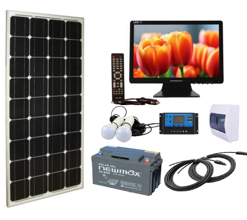 Sistem fotovoltaic independent 100W, 12V c.c. cu TV si becuri LED - Featured image