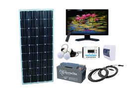 Sistem fotovoltaic independent 265W, 12V c.c. cu TV si becuri LED - Featured image