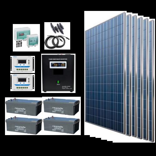 Sistem fotovoltaic off grid 1980W, 220V C.A. cu invertor hibrid 2500VA – sinus pur - Featured image